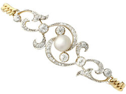 Antique Natural Pearl 2.72 ct Diamond 15 ct Yellow Gold Silver Set Bracelet