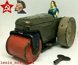 Road Roller Antique Rare Tin Toy 50-60s Wind Up Woman Driver Ussr Soviet