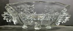 Beautiful Fostoria Glass Large Footed Navarre Etched Serving Bowl W Wing Handles