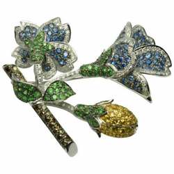 18k White Gold 7.25 TCW Diamond Flower Brooch with natural Color Stones