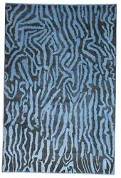 Contemporary Overdyed Blue Black Wool Rug 6'4 X 9'7