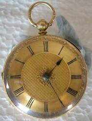 U.k Fine Decorated 18k Yellow Gold Mens Pocket Watch Produced By S And R 1864