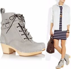 Swedish Hasbeens Shoes Buckle Combat Boot Lt Gray Leather Clog Booties 430 38