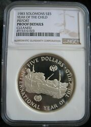 1983 Solomon Islands 5 Dollars Year Of The Child Ngc Proof Details Piefort Rare