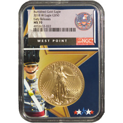 2018-w Burnished 50 American Gold Eagle 1 Oz Ngc Ms70 Early Releases West Point