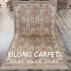 Yilong 5and039x8and039 Handmade Silk Garden Carpets Hand-knotted Four Season Area Rug 458b