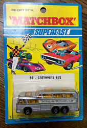 Lesney Matchbox Superfast 66 Greyhound Bus With Rare Pink Base New In Package