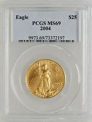 2004 25 Us Gold Eagle Pcgs Ms 69 Investment Grade Bullion 1/2 Ozt Gold Coin