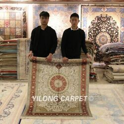Yilong 4'x6' Floral Silk Hand Knotted Classic Area Rug Nice Handmade Carpet 866b