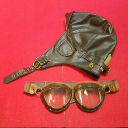 World War 2 Wwii Imperial Japanese Navy Leather Flight Helmet And Goggle Replica