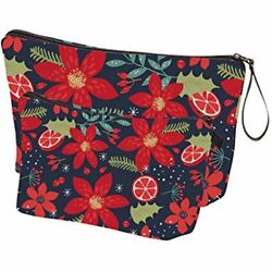 Large Makeup Bags Cosmetic Floral Pouch Women Purse Floral Clothing $21.71