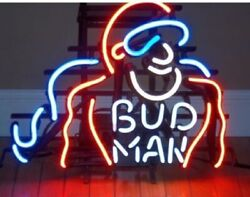 Bud Man Hero 20x16 Real Glass Neon Sign Lamp Bar With Dimmer