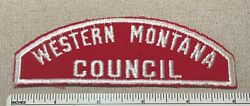 Vtg Western Montana Council Boy Scout Red And White Uniform Strip Patch Rws Full