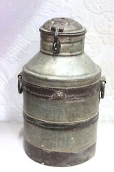 Iron Milk Can Vintage Antique Indian Handmade Decorative Collectible Ps-100
