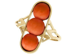 Antique 3.60ct Coral And 14k Yellow Gold Dress Ring