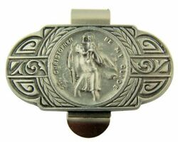 N.g. Pewter St Christopher Be My Guide World Travel Auto Visor Clip, 2 1/2 Inch