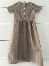 Little Girls Striped Maxi Dress Short Sleeves Tan Gathered Waist