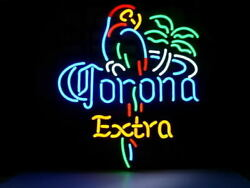Corona Extra Parrot Bird Palm Tree 20x16 Neon Sign Lamp Bar With Dimmer