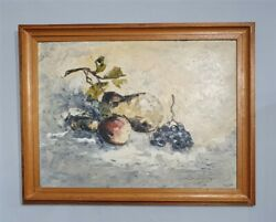 Textured Still Life Art Study Painting Of Fruit, Painted With Palette Knife C196