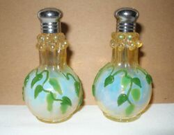 Incredible Opalescent Art Glass Salt And Pepper Pair Color Changing Tyndall Effect