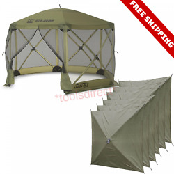 Clam Quick Set Escape Portable Camping Outdoor Canopy Screen and 6 Wind Panels