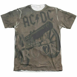 Ac/dc We Salute You Sublimation T Shirt Mens Licensed Rock N Roll Music Band Tee