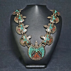 Rare Silver And Turquoise Peyote Bird Style Native American Squash Necklace