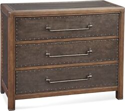 Bassett Mirror Raylan Metal Hall Chest in Coffee Bean and Antique Metal A2297EC