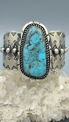 Chimney Butte Navajo Stormy Mountain Turquoise And Sterling Silver Cuff Bracelet