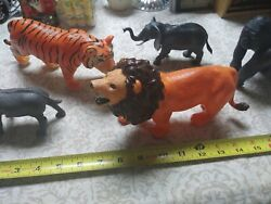 Lot Jungle Animals Toys Vintage Hard Plastic Great Colors Large African