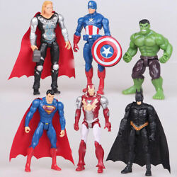 6PCS Set The Avengers Batman Hulk Thor Iron Man Superman Action Figure Kid Toy