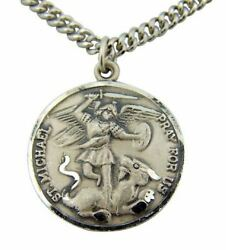 Cb Sterling Silver 7/8-inch Guardian Angel Be My Guide Saint Michael Medal