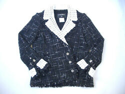Authentic Chanel Jacket 04S Super Rare Hand Knitted Lace From JAPAN No.63215