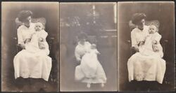Margaret Stamets And Baby Daughter Lucy 3 Rppc Photo Postcards, Ca. 1914