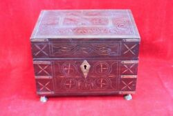 Wooden Perfume Bottle Box With 5 Bottles Old Vintage Halloween Gifts Ph-51