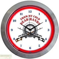From My Cold Dead Hands Neon Clock 15 Wall Glass Face Chrome Guns Patriot New