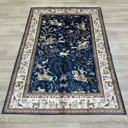 Yilong 4and039x6and039 Blue Hand Knotted Silk Carpets Hunting Scene Tribal Vintage Rug 20b