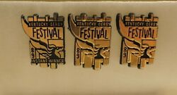 3 Rare Kentucky Derby Gold 1989 Pegasus Festival Pins 1 Instant Win And 2 Returns