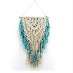 Cotton Blue Bohemian Tapestry Aztec Macrame Woven Wall Hanging Room Decor 17x30quot;