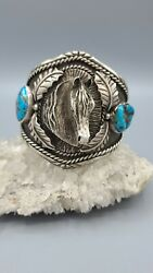 Native American Navajo Horse Sterling And Bisbee Turquoise Cuff Bracelet