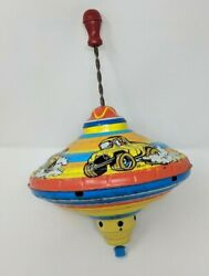 Antique Metal Tin Spinning Top Ohio Art Cars 311a174