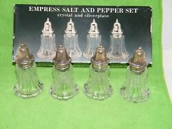 Empress Salt And Pepper Set Crystal And Silver Plate 3-1/2 Tall Lot Of 4