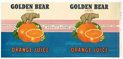 Authentic Rare 1947 Golden Bear Orange Juice Can Label Hollywood General Foods