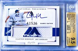 2016 National Treasures 1/1 Majestic Patch Dated Bgs 9.5 10 Auto Clayton Kershaw