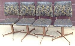 4 Vtg Black Gold Eccentric Mcm Atomic Swivel Propellor Chair Dinning Chairs