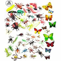 39 Pcs Random Plastic Insects Bug Toys For Kids Boys 2-6andrdquo Fake Bugs Lady
