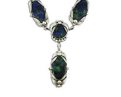 Navajo Azurite Necklace .925 Silver Handmade Signed Billie Eagle C.80and039s