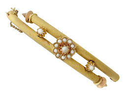 Antique Victorian Pearl And 22k Yellow Gold Bangle