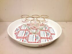 Vintage Round Plastic Budweiser Serving Tray 13 And 5 3 Glasses King Of Beer