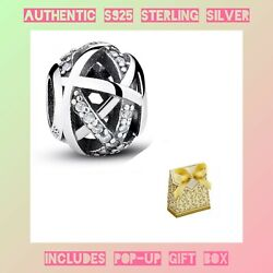 Authentic Sterling Silver S925 Sparkling Galaxy Openwork Charm Bead